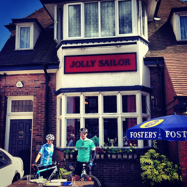 Mid ride bite to eat at the Jolly Sailor